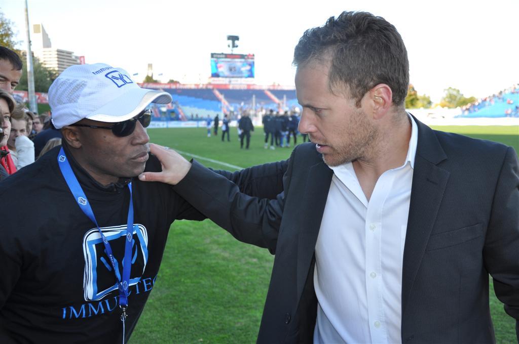 Richard Pierre-Gilles et l'entraîneur de l'Impact, Marc Dos Santos